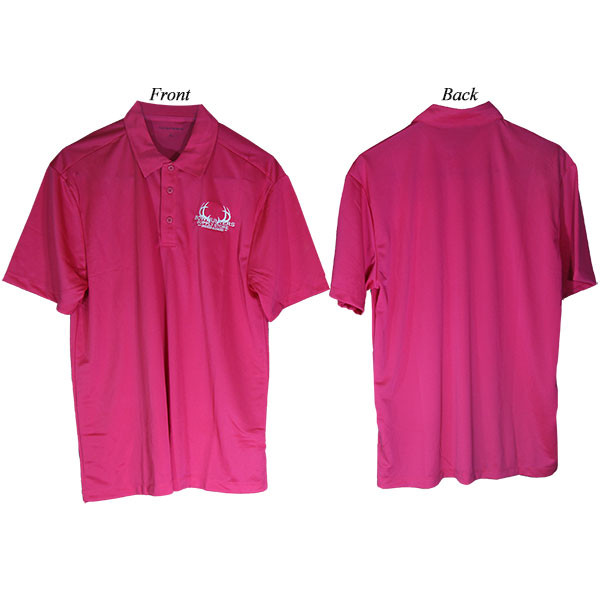Bowhunters Supply Store Polo Pink Raspberry/White Large