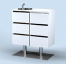 9212 Spa Drawers on Stand w/ Sink in White