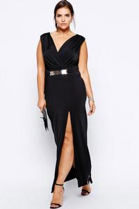 Plus Black Maxi Dress with Metal Bar