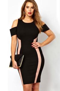 Plus Size Black Exclusive Bodycon Dress With Drop Shoulders