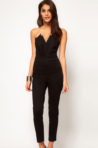 Plus Size Black Sexy Jumpsuit with Pleated Bust Origami Detail