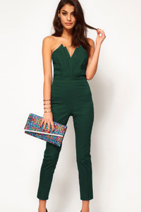 Plus Size Green Sexy Jumpsuit with Pleated Bust Origami Detail