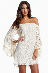 Plus Size White Lace Off-The-Shoulder Mini Dress