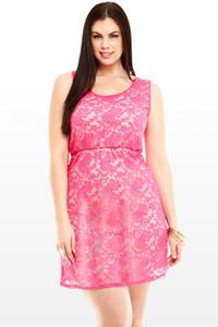 Pink Lace Hollow Back Plus Size Skater Dress