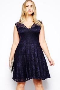 Navy Blue Scalloped V-neck Lace Plus Size Skater Dress