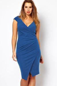 Plus Size Blue Ruched Jersey Wrap Midi Dress