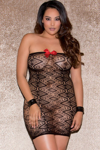 Black Plus Size Checkered Pattern Seamless Chemise