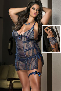 Blu Plus Size Bachelorette Mini Dress with Slits
