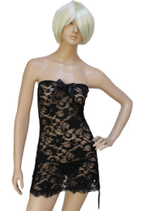 Black Plus Size Strapless Lace Chemise Dress
