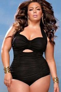 Black Sweetheart Neck Ruched Plus Size One-piece Swimwear