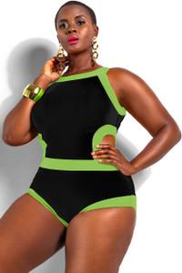 Black Sexy Cutout Monokini Plus Size Swimwear