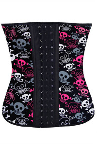 Plus Halloween Playful Skulls 4 Steel Bone Waist Cincher