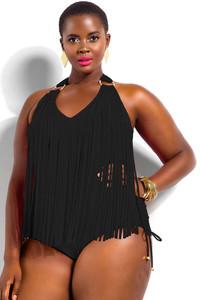 Black Fringe Embellished Plus Size Halter Monokini