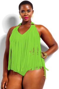 Green Fluorescence Green Fringe Embellished Plus Size Halter Monokini