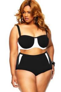 Black Plus Size High Waist Color Block Women Bikini
