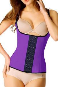 Plus Size Purple Steel Boned Latex Waist Trainer Vest