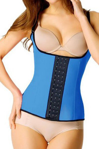 Plus Size Blue Steel Boned Latex Waist Trainer Vest