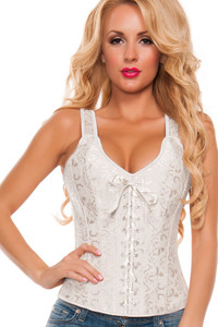 Plus Size Elegant White Brocade Bridal Corset
