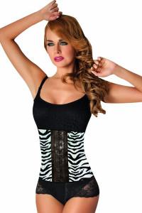 Plus Size 9 Steel Bones Zebra Animal Print Latex Waist Cincher