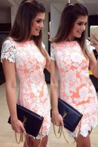 Applique Lace Overlay Bodycon Mini Dress
