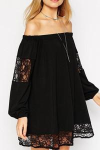 Black Chiffon Lace Swing Dress