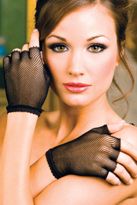 Black Wrist Length Fishnet Gloves