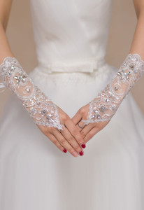 White Rhinestone Embellished Sheer Lace Fingerless Gloves