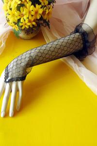 Black Sheer Pothole Crochet Elbow Length Gloves