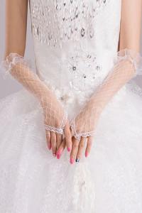Off White Sheer Pothole Crochet Elbow Length Gloves