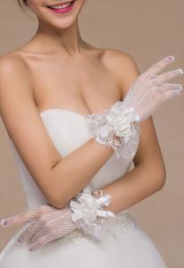 Off White Satin Rose Accent Short Fishnet Gloves