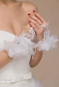 Off White Flowery Applique Fingerless Bridal Gloves