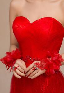 Red Flowery Applique Fingerless Bridal Gloves