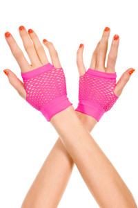 Rosy Fingerless Net Short Gloves