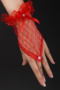 Red Transparent Fingerless Elbow Short Gloves