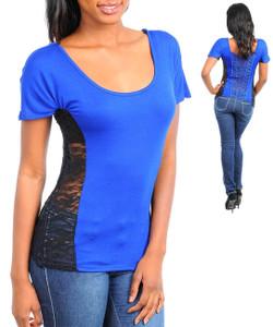 Sexy Royal Blue Black Lace Cut Out Back Shirt Blouse Clubwear Top S,M,L