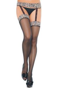 Sexy Black Leopard Suspender Garter Belt Pantyhose Stockings