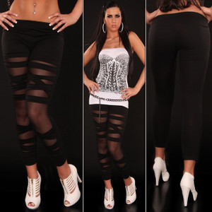 Sexy Black Stretch Ripped Cut Out Slashed Leggings Pants