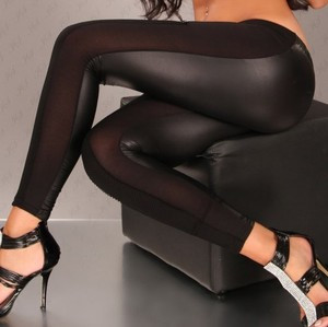Sexy Black Open Cut Out Mesh See Thru Opaque Faux Leggings