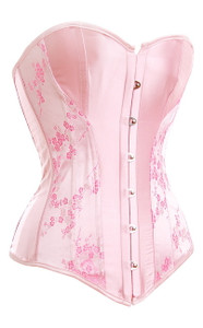 Sexy Pink Satin Corset with Front Busk Closure