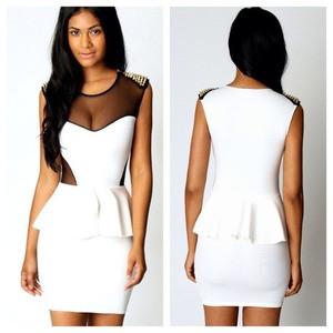 Sexy White Black Mesh Gold Studded Peplum Mini Dress