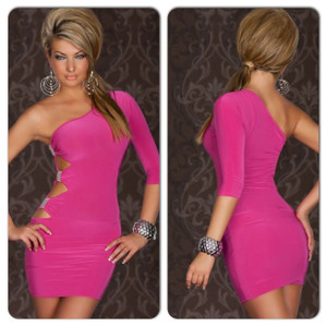 Sexy Pink One Shoulder Cutout Ruched Side Club Dress
