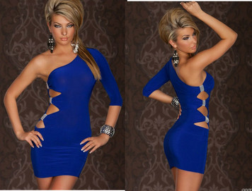 Sexy Blue One Shoulder Cutout Ruched Side Club Dress