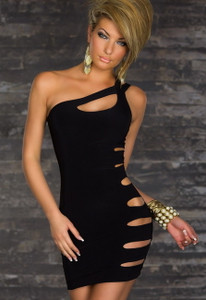 Sexy Little Black One Shoulder Cut Out Slashed Sleeve Ripped Laser See Thru Mini Dress