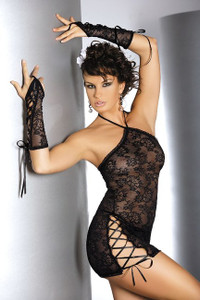 Mesh Lace Babydoll with Gloves