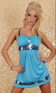Sexy Mini Dress Pailletten Blue