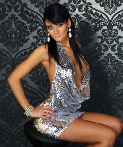 Sexy Drape Front Sequin Mini Dress