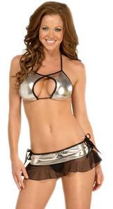 Sexy Silver Black Metallic Stripper Exotic 2 pc Dancer Skirt Halter Top Wear