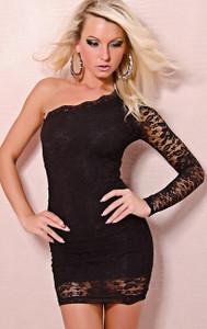 SEXY One Shoulder Black Lace Mini Dress Party Dancer Clubwear