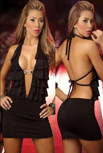 Sexy Black Cut Out Back Ruffle Halter Mini Dress