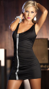 Sexy Little Black Zipper Club Party Cocktail Mini Dress